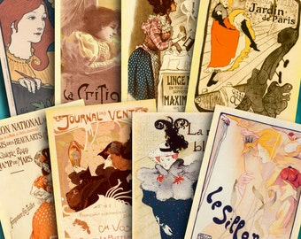 French Posters Printable Download ATC ACEO Digital Collage Vintage Backgrounds French Women Dancers Ephemera Jewelry Cards Tag 306