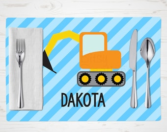 Construction Placemat - Digger - Children's Placemat - Personalized with Child's Name - Custom Placemat