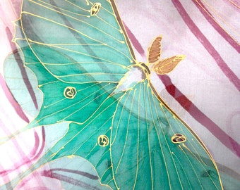 Hand Painted Silk Shawl, Chiffon Scarf, Japanese Silk Scarf, chiffon shawl wrap, Silk Painting, Moon Goddess, Green Luna Moth, Made to order