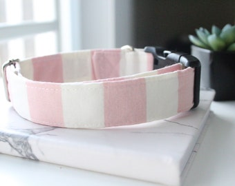 Dog Collar, Handmade Pink and White Stripe Pattern
