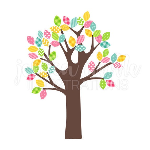 spring pattern leaf tree cute digital clipart easter tree rh etsy com cute spring clipart free cute spring clipart free