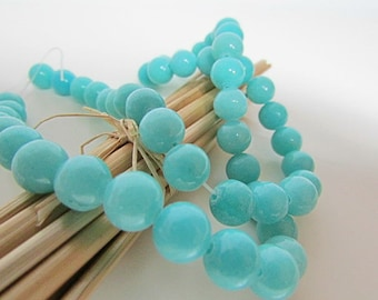 Amazonite, Pearl blue amazonite bead 8 mm gem stone, 6 mm, 4 mm