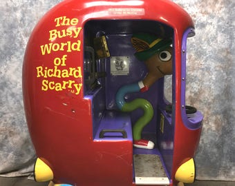 Coin Operated Scarry Apple Kiddie Ride Amusement Carnival Store Front Vintage, Vintage Kidde Ride, Vintage Arcade Ride, Richard Scarry