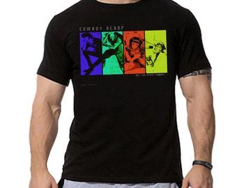 Cowboy Bebop Team Rainbow Minimalist Anime Inspired T-shirt. Male and Female Apparel