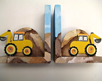 Hand painted wooden bookends,yellow backhoes,construction theme,personalized book ends,boys bookends, kids bookends,baby's bookends