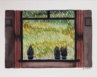 Original watercolor painting Rain and Window sill Rainy day illustration art Autumn fall wall decor