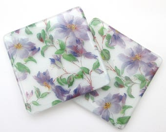 Purple clematis coaster, Summer flowers, handmade glass mug mat, wine glass coaster, bar mat, square, garden lover gifts, gifts for her,