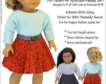 Pixie Faire Genniewren Designs Peggy Sue Accordion Pleated Skirt Doll Clothes Pattern for 18 inch American Girl Dolls - PDF
