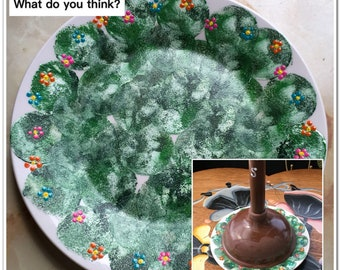 Plunger Tray or Plate To Keep Your Plunger Off the Floor Handpainted Bathroom Decor