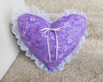 Ooak, Handmade Decorative Heart Shaped Pillow.
