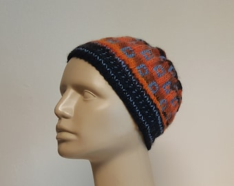 Hand Knit Orange and Black Cloche Hat with Blue Squares Pattern