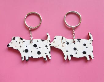 Best Friend dog key rings - Cute sniffing dalmations. Unique gift for best friend/girlfriend/boyfriend/dog lover. Funny couples gift