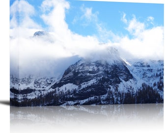 Winter Fog Forest Mountains Art Print Wall Decor Image - Canvas Stretched Framed