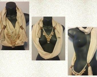 BROWN Scarf Wrap Necklace - Scarves - Wrap - Handmade - Fashion