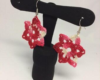 Red flower water lilies crochet earrings-