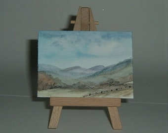 Misty mountains aceo art painting miniature. (ref E181)