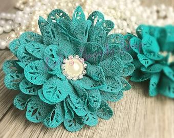 "Set of Two - 3"" Teal Blossom Scalloped Flower - Headband Supplies - Rhinestone Large Fabric Flowers - Wholesale Chiffon Fabric Flowers"
