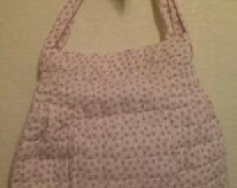 Women's Pale Pink with Dark Pink Flowers Quilted Purse or Tote Bag