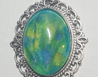 Abstract Green Blue watercolor pendant