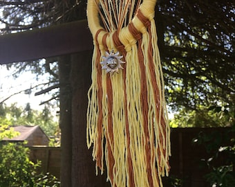 Golden Rays - Yellow & Orange, Small Handcrafted Wallhanging