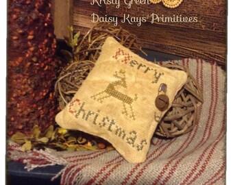 Primitive Christmas Pillow Tuck | Cross Stitch | Reindeer | Bowl Filler | Pin Keep | Farmhouse Country Prim Decor | Ornament | Grungy