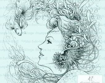 Digital Stamp - Instant Download - Fins and Pearls - Mermaid with Kelp and Fish - Fantasy Line Art Digi for Arts and Crafts - AuroraWings
