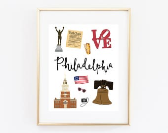 Philadelphia Art Print, Illustrated Philadelphia Decor, Philadelphia Gift, Philly Wall Art