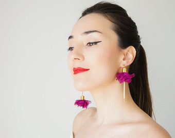 Mismatched Earrings Statement Jewelry Statement Earrings Floral Earrings Boho Earrings Gold Earrings Long Earrings Dangle Earrings/ CICINA