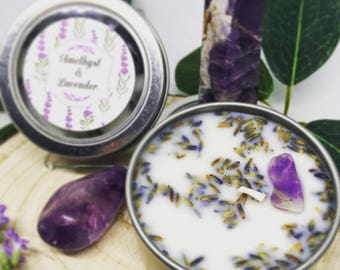 2oz Lavender and Amethyst Soy Candle Tin