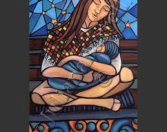 Greeting Card from Original Acrylic Painting entitled Mother Night - 5x7 inch - 10 CARDS