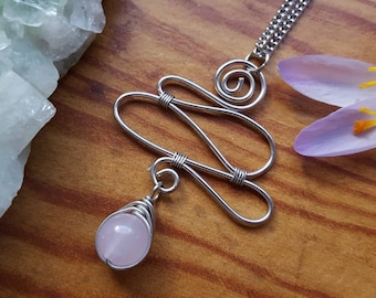 Pink Glass Bead Herringbone Wire Wrapped Cloud Pendant Chain Necklace