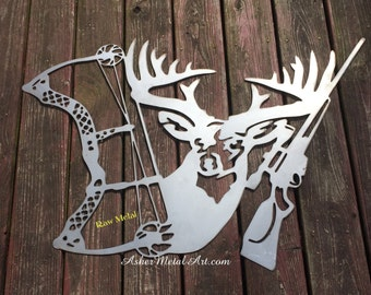 DEER with rifle & bow; MANCAVE, hunter