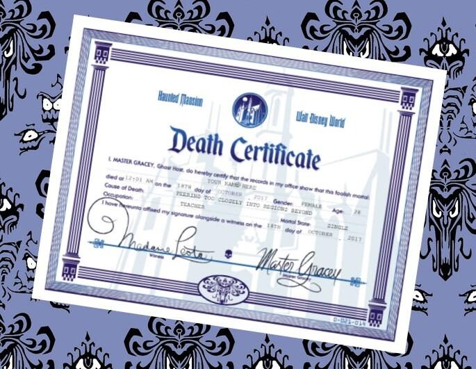 Haunted Mansion Customizable Death Certificate Disney World