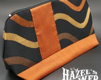 Copper Orange Waves Makeup Bag/ Pouch