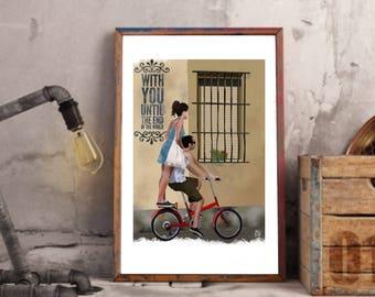 Impresion bicicleta, ilustración ventana, decoración bicicleta, ilustración digital, arte de paret, descarga inmediata, digital art download