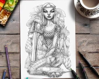 Adult Colouring Page | Fantasy | Grayscale Illustration | Zan Von Zed