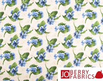 Fabric with Blue Flowers, Lovely Collection by Debbie Beaves for RJR, Quilt or Craft Fabric, Fabric by the Yard