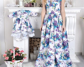 Outfits Mother Daughter Matching Dress Dresses, Mommy and Me Summer Cotton Dress, Mom Baby Maxi Dresses, Floral Print Matching Dress