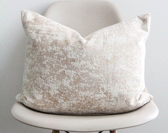 """16"""" x 20"""" Champagne Marble Pillow Cover - Lumbar Pillow - COVER ONLY"""