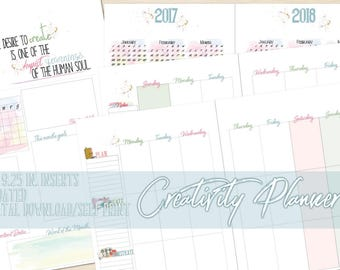 Printable Personal Planner, Digital Download, Vetical Weekly Spread, Watercolor