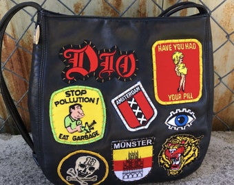 Vintage 1990's Leather Co. Patched Black Leather Hobo Bag Shoulder Tote DIO Amsterdam Punk Heavy Metal Purse DIY Vintage 70's 80's Patches