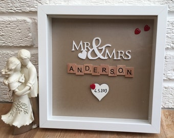 Personalised wedding gift frame, scrabble frame, wedding gift, Mr & Mrs, engagement, gifts for couples, anniversary gift, valentines gift