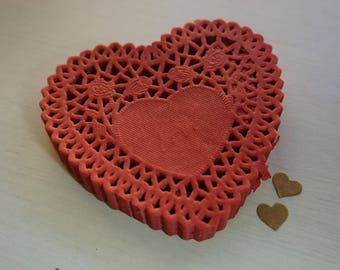 """25 Red Paper Lace Doilies Heart 10cm (4"""") *Baby Shower*Wedding* Cards *Scrapbooking*"""
