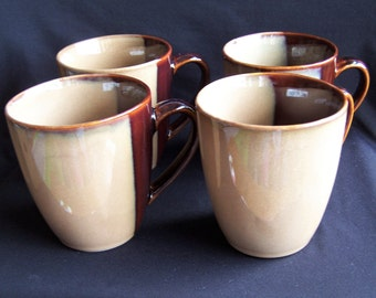Sango Eclipse Brown Set of 4 Mugs, Set of 4 Beige and Brown 12 Ounce Mugs