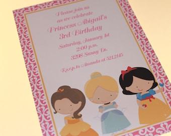 Custom Printed Princess Birthday Invitations