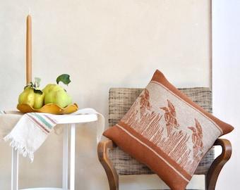 Three Flying Ducks Wool Jacquard Pillow Small Size Caramel Browm & Beige Rustic Decor