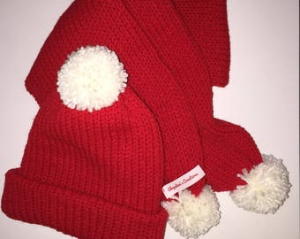 Red Reversible Slouchy Hat & Scarf Set