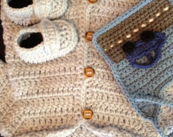 Handmade Crocheted Baby Boys Set Hooded Baby Cardigan Sweater, Bib, and Matching Booties