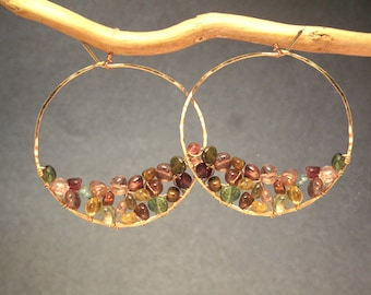 Hoops wrapped with smooth tourmaline inside Cleopatra 117