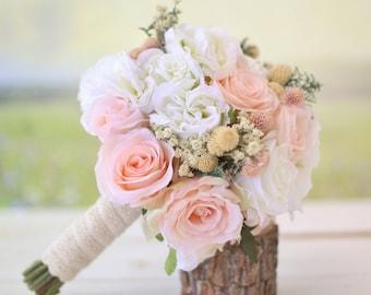 Silk Bridal Bouquet Wildflowers Pink Roses Baby's Breath Rustic Chic Wedding #BraggingBags (1002)